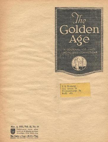 """La revista """"The Golden Age"""" menciona la existencia de campos de concentración cuando aún no habían transcurrido cinco meses desde la apertura del campo de concentración de Dachau (Alemania)"""