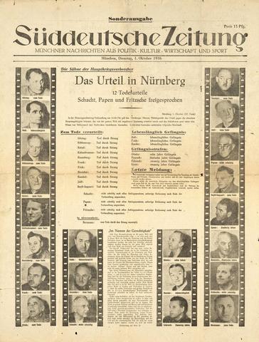 Comunicación de las sentencias de los Juicios de Nuremberg contra la Jerarquía nazi.