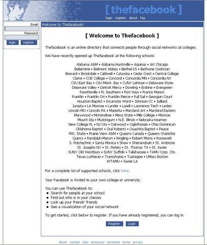 facebook en el 2005