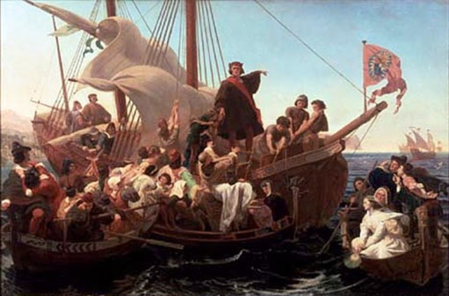 """Christopher Columbus """"discovers"""" the New World"""