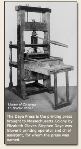 The British colonies' first printing press