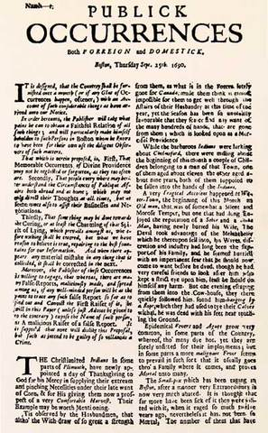 The first newspaper published in the British Colonies