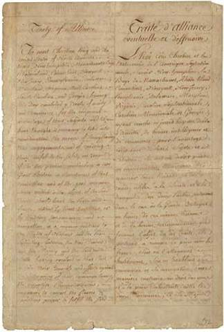 Beginning of French involvement in the American Revolution (Treaty of Alliance)