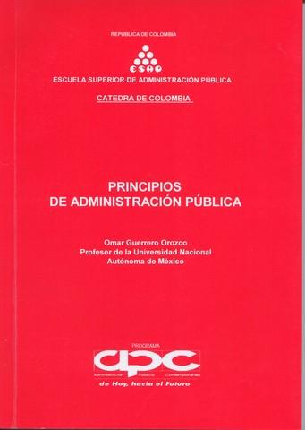 """Omar Guerrero. """"Principios de la administración pública""""."""