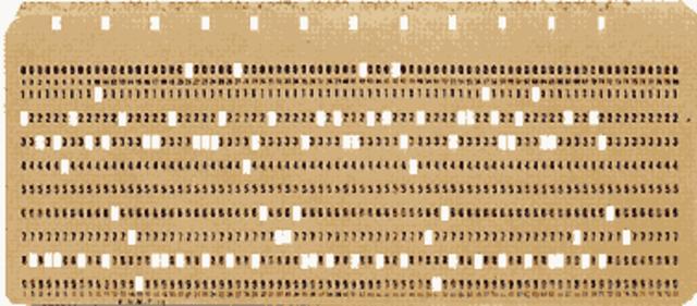 mediante tarjetas perforadas, se introducen datos en los ordenadores