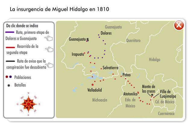 La insurgencia de Miguel Hidalgo en 1810.