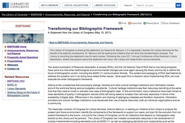 Transforming our Bibliographic Framework Initiative (BIBFRAME) announced