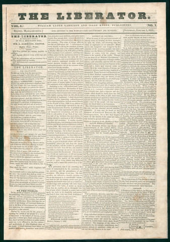 "William Lloyd Garrison publishes ""The Liberator"""