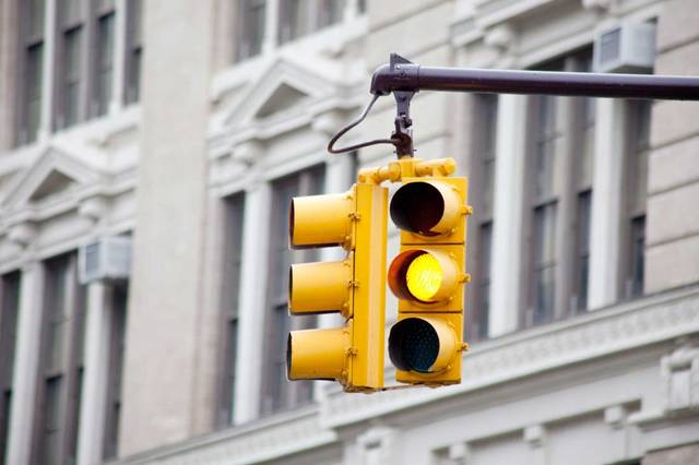 Yellow traffic lights were invented