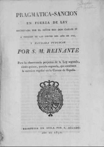 Promulgación de la Pragmática Sanción de 1789 y derogación de la Ley Sálica