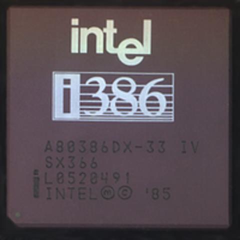 Aparece el microprocesador 80386 de iNTEL