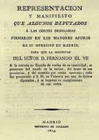 Vuelta de Fernando VII. Manifiesto de los persas.