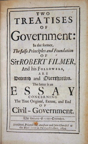 John Locke published Two Treatises of Government