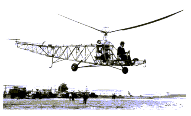O primeiro voo de  helicóptero bem sucedido
