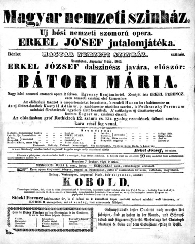 1840 Bátori Mária, Erkel első operája
