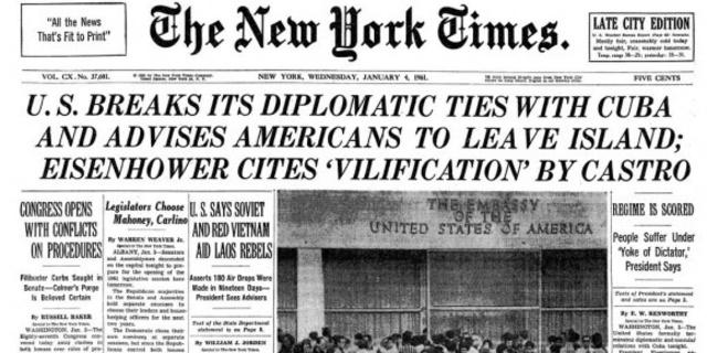 Estados Unidos rompe relaciones diplomáticas con Cuba