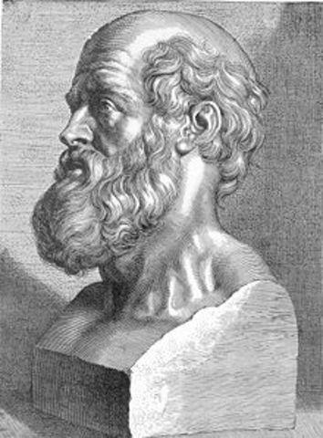 Hipocrates escribe su obra médica.