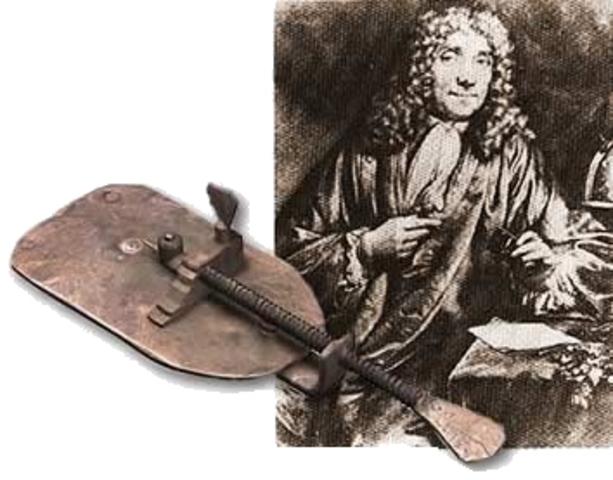 Anton van Leeuwenhoek observa microorganismos por el microscopio.