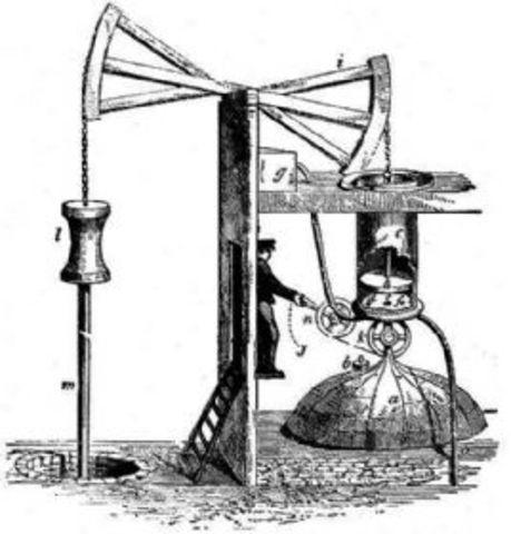 Thomas Newcomen inventa una máquina de vapor atmosférica de balancín, la máquina de Newcomen.