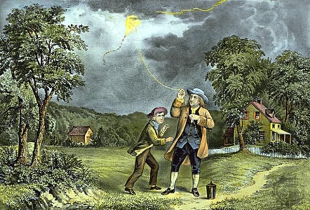 Benjamin Franklin señala la naturaleza eléctrica del rayo.