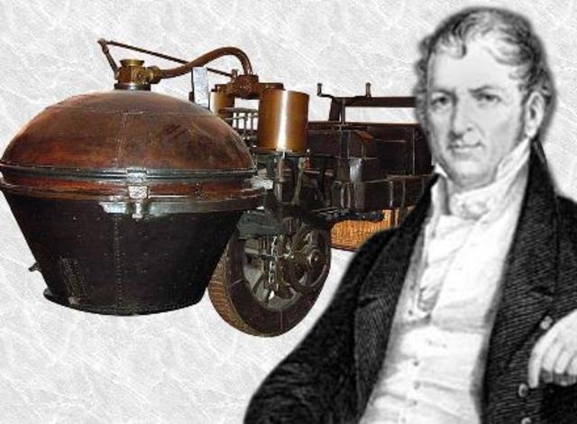 """Joseph Cugnot inventa el Fardier à vapeur (""""Coche de vapor"""") un vehículo autopropulsado, que es el antecedente del automovil."""