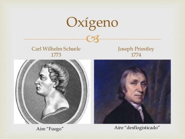 Joseph Priestley o Carl Wilhelm Scheele descubren simultáneamente el «air déphlogistiqué» (futuro oxígeno)