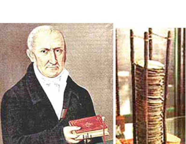 Alessandro Volta inventa la celda voltaica.