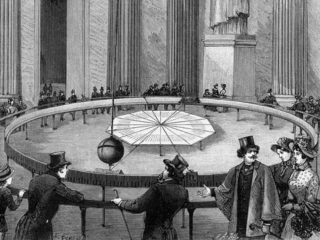Léon Foucault, utilizando un péndulo, demuestra la rotación de la Tierra.