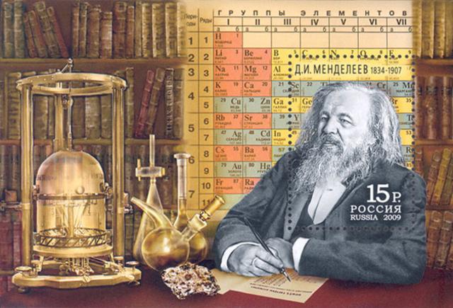 Dmitri Mendeléyev describe la tabla periódica de los elementos químicos.