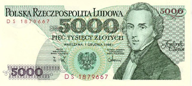 Банкнота 5000 злотых.