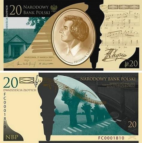 Памятная банкнота номиналом 20 злотых.