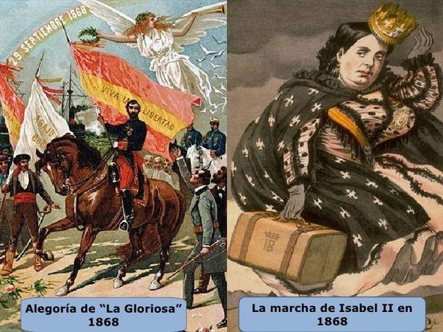 """Revolución: """"La Gloriosa"""". Exilio de Isabel II."""