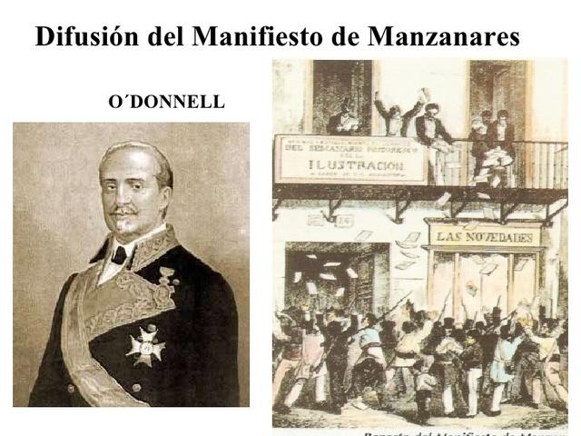 La vicalvarada: manifiesto de Manzanares. Caída del régimen moderado.