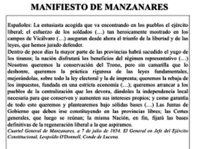 La vicalvarada: manifiesto de Manzanares