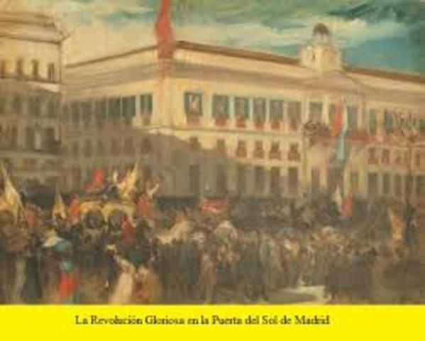 La Gloriosa . Exilio de Isabel II