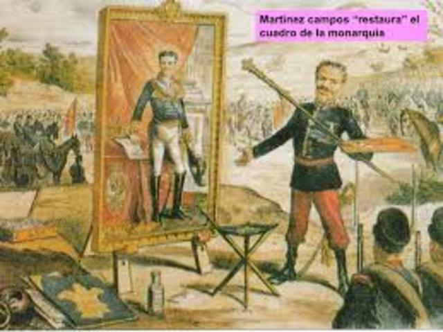 Pronunciamiento de Martinez Campos. Restauración de los Borbones