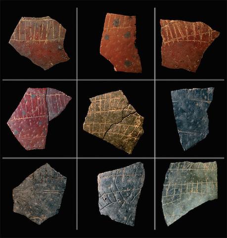 Fragments of engraved ostrich eggshells