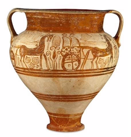 Pottery stemmed bowl decorated with a procession of riders in chariots
