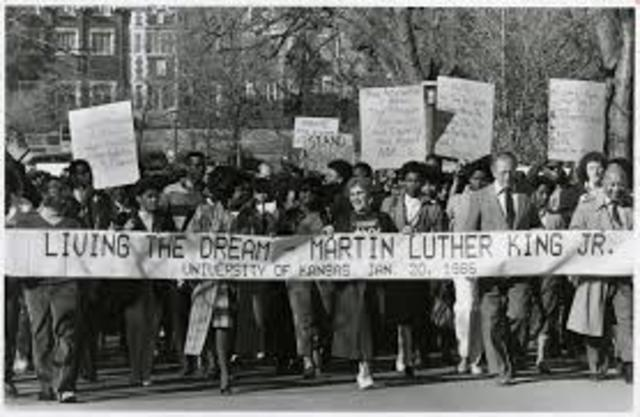 Martin Luther King Day is officially observed for the first time as a federal holiday in the US
