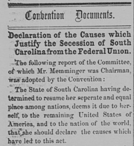 Secession of South Carolina and Confederacy (Political)