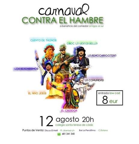 """Noche Carnavalesca en la Caleta """"CARNAVAL CONTRA EL HAMBRE"""" Asociación benéfica """"Amigas del Sur"""""""