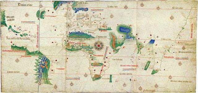 Firma del Tratado de Tordesillas por Cristóbal Colón