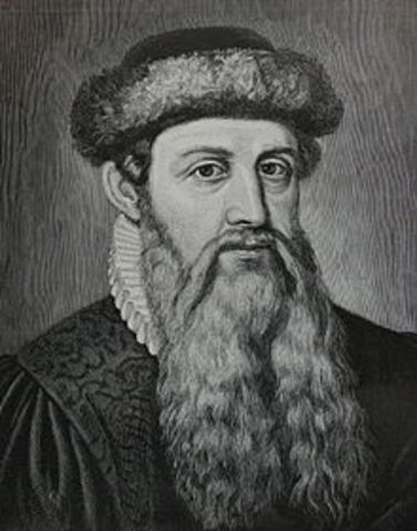 Johannes Gutenberg completes the printing press
