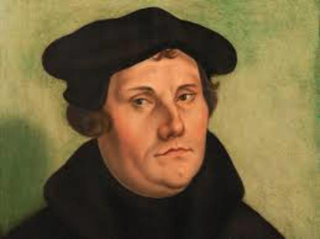 Martin Luther post his 95 Theses on the door of the Church of Wittenberg