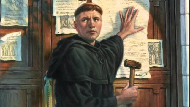 Martin Luther Posts His 95 Theses On The Door Of The Church Of Gutenberg