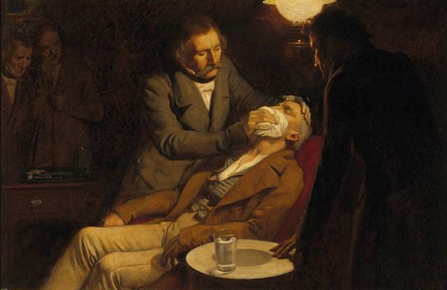 У. Мортон удалил зуб под эфирным наркозом.