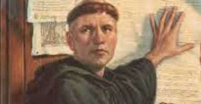 Martin Luther posts his 95 Theses on the door of the Church of Wittenberg