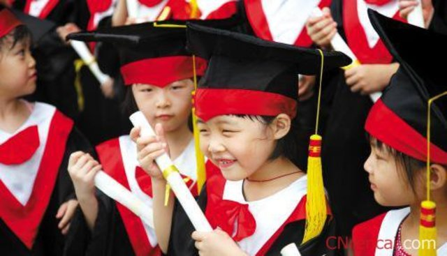 I graduate from kindergarten.