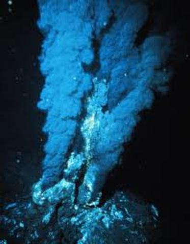 Deep sea hydrothermal vents and associated life around them are discovered