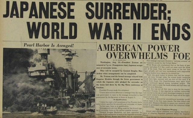 Japan surrenders; end of World War II